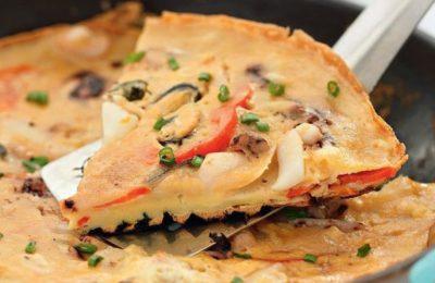«пицца» с морепродуктами