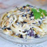Салат из баклажанов с луком и горошком